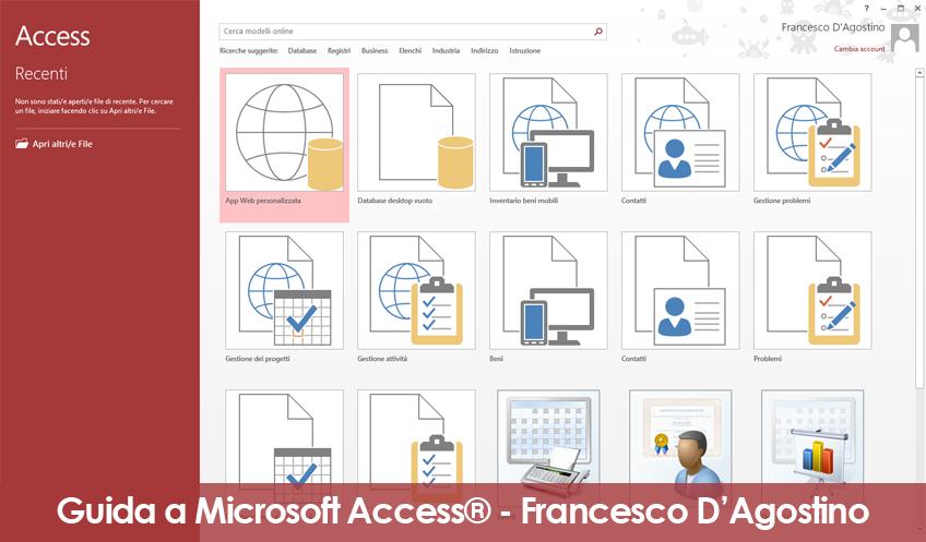 Come si presenta la schermata di Microsoft Access 2013 all'apertura del programma.