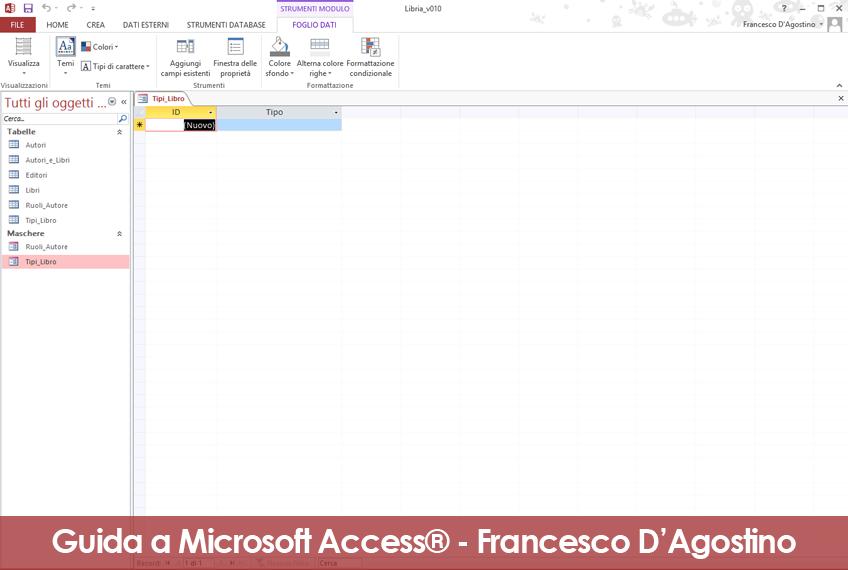 L'aspetto grafico di questa maschera di Access è simile a quello di una semplice tabella.