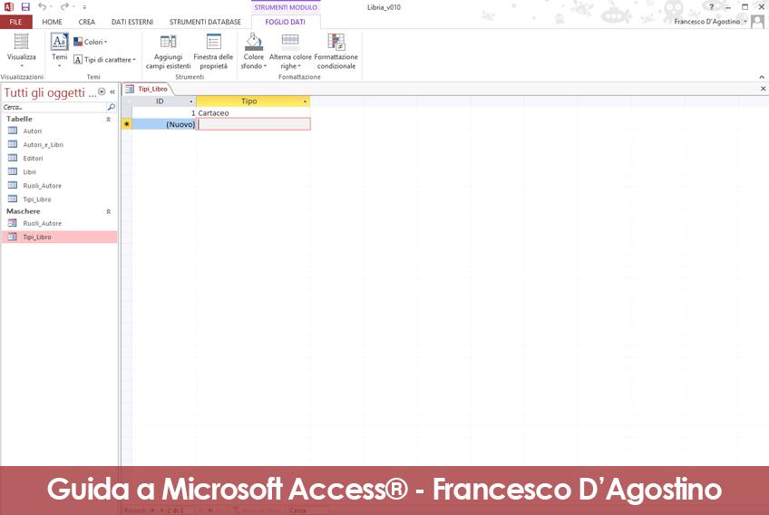 L'aggiornamento della tabella di un database Access non richiede un'operazione specifica di salvataggio.
