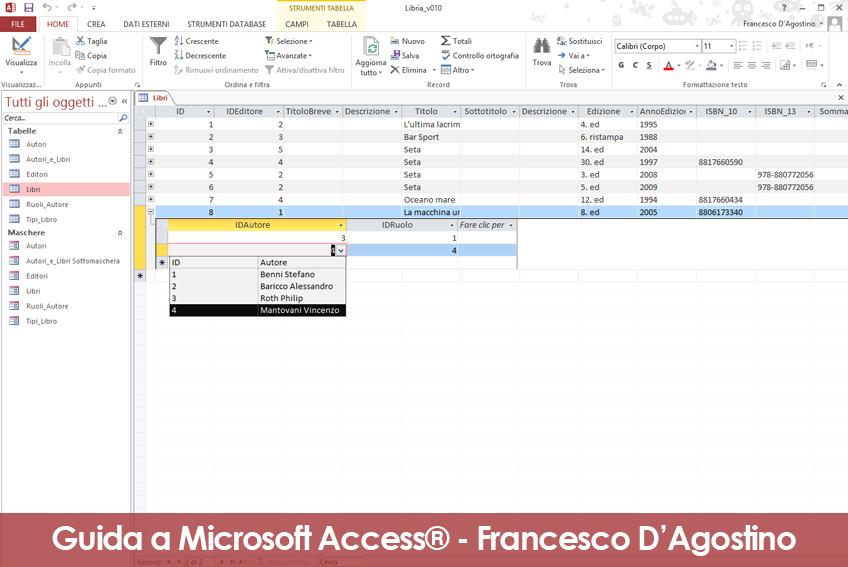 Esplorazione dei record delle tabelle con i dati collegati. L'esempio è tratto dalla Guida alla creazione di maschere di Access.